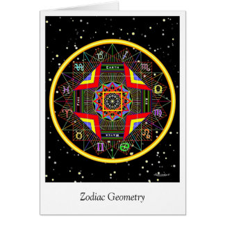 Geometria do zodíaco cartão comemorativo
