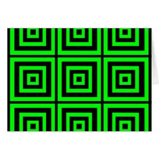 Geometria hipnótica verde cartão comemorativo