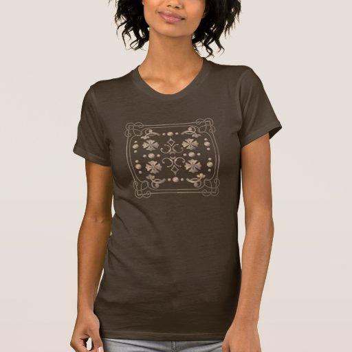 Geométrico bege clássico com a camisa do quadro t t-shirt