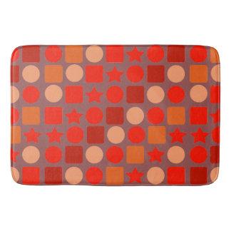 Geométrico Vermelho-Alaranjado na esteira de banho Tapete De Banheiro