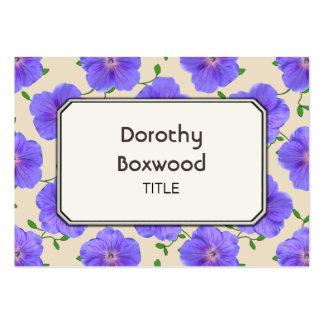 Gerânio azul botânico floral customizável cartão de visita grande