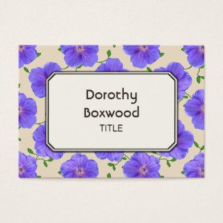 Gerânio azul botânico floral customizável cartão de visitas