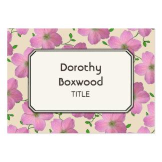 Gerânio cor-de-rosa botânico floral customizável cartão de visita grande