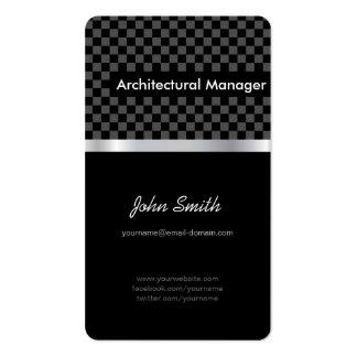 Gerente arquitectónico - Checkered preto elegante Cartão De Visita