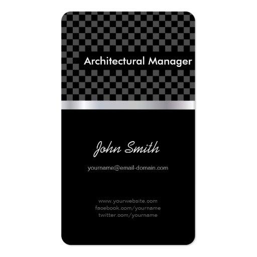Gerente arquitectónico - Checkered preto elegante Cartoes De Visitas
