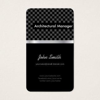 Gerente arquitectónico - Checkered preto elegante Cartão De Visitas