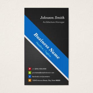 Gerente da arquitetura - azul preto superior cartão de visitas