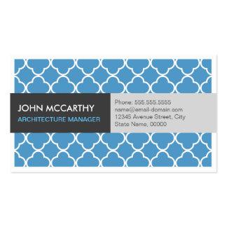 Gerente da arquitetura - Quatrefoil azul moderno Cartão De Visita