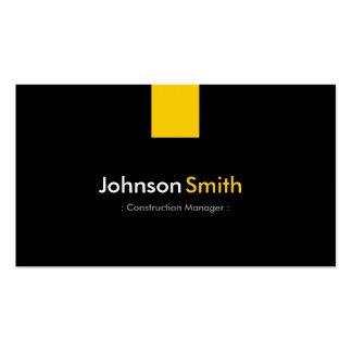 Gerente da construção - amarelo ambarino moderno cartão de visita