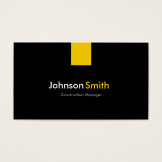 Gerente da construção - amarelo ambarino moderno cartão de visitas