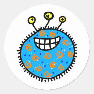 Germe azul dos desenhos animados adesivos redondos