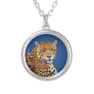 #Gift grande manchado do Gato-amante de Jaguar Colar Banhado A Prata