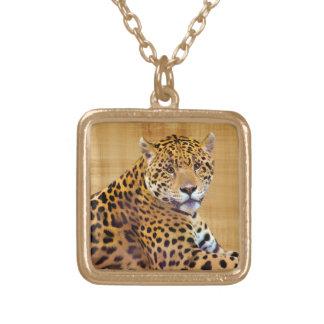 #Gift grande manchado do Gato-amante de Jaguar Colar Com Pendente Quadrado