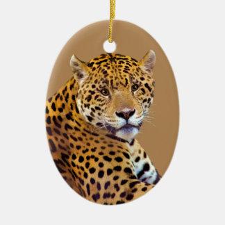 #Gift grande manchado do Gato-amante de Jaguar Ornamento De Cerâmica Oval