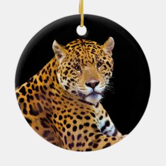 #Gift grande manchado do Gato-amante de Jaguar Ornamento De Cerâmica Redondo