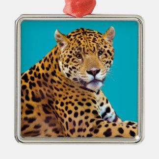 #Gift grande manchado do Gato-amante de Jaguar Ornamento Quadrado Cor Prata