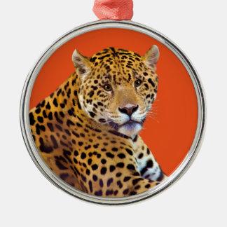 #Gift grande manchado do Gato-amante de Jaguar Ornamento Redondo Cor Prata