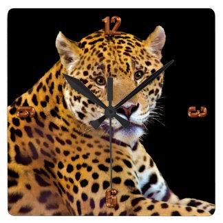 #Gift grande manchado do Gato-amante de Jaguar Relógios De Pendurar