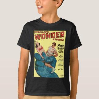 Gigante e adolescentes azuis irritados camiseta