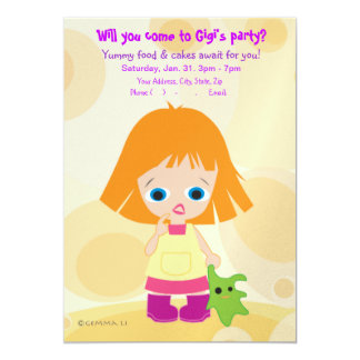 Gigi & Mimi (partido de mini Picasso) convidam Convite 12.7 X 17.78cm