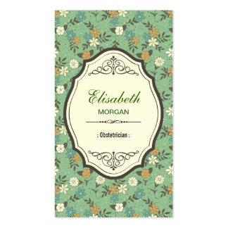 Ginecologista - vintage elegante floral cartões de visita