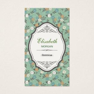 Ginecologista - vintage elegante floral cartão de visitas