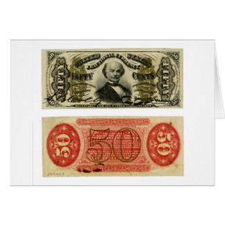 Girador de Francis de uma moeda fracionária de 50  Cartao