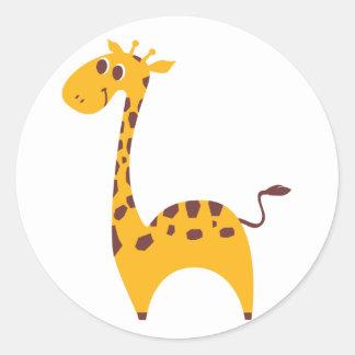 Girafa Adesivo Em Formato Redondo