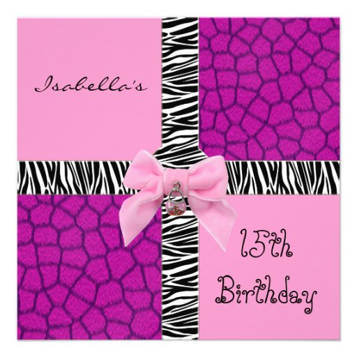 Girafa adolescente do rosa selvagem do aniversário convite personalizados