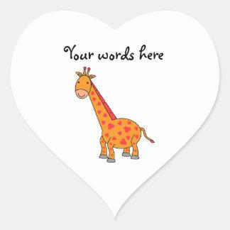 Girafa alaranjado adesivos em forma de corações
