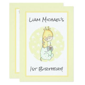 Girafa amarelo com aniversário do bebê do cupcake convite 12.7 x 17.78cm