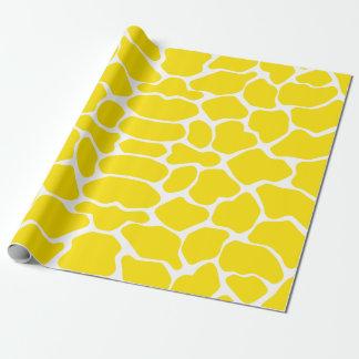 Girafa amarelo dourado do safari papel de presente