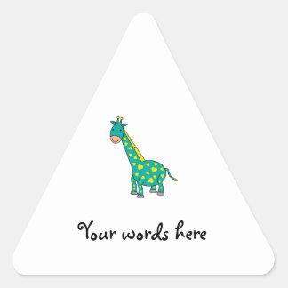 Girafa amarelo e verde adesivos triângulo