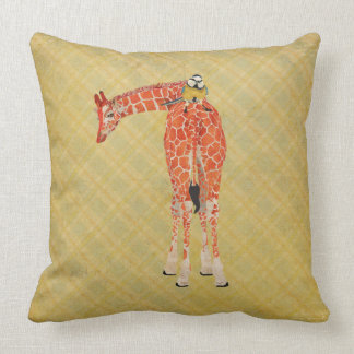 Girafa ambarino & travesseiro pequeno da xadrez do