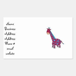 Girafa azul e cor-de-rosa adesivos em forma retangular