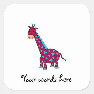 Girafa azul e cor-de-rosa adesivo quadrado