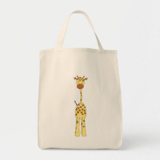 Girafa bonito alto. Animal dos desenhos animados Bolsas De Lona