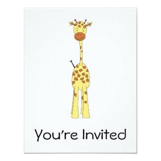 Girafa bonito alto. Animal dos desenhos animados Convite Personalizado