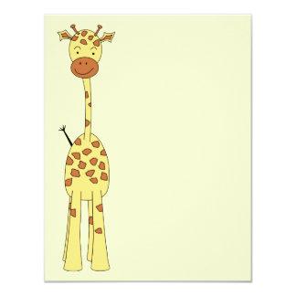 Girafa bonito alto. Animal dos desenhos animados Convite 10.79 X 13.97cm