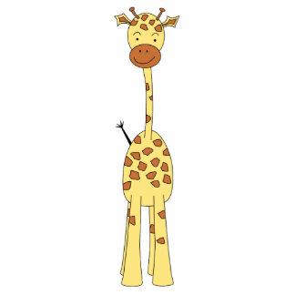 Girafa bonito alto. Animal dos desenhos animados Foto Esculturas