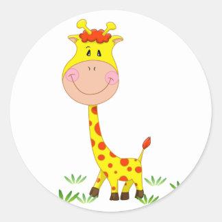 Girafa bonito adesivos redondos
