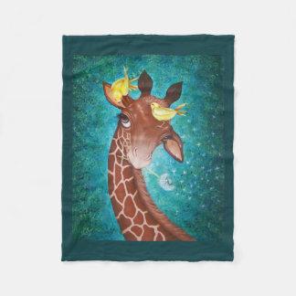 Girafa bonito com pássaros cobertor de velo