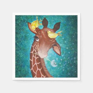 Girafa bonito com pássaros guardanapo de papel