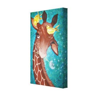 Girafa bonito com pintura dos pássaros impressão em tela