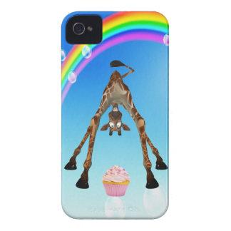 Girafa bonito, cupcake & arco-íris capa para iPhone 4 Case-Mate