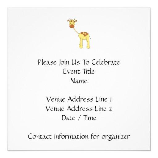 Girafa bonito. Desenhos animados Convite Personalizado