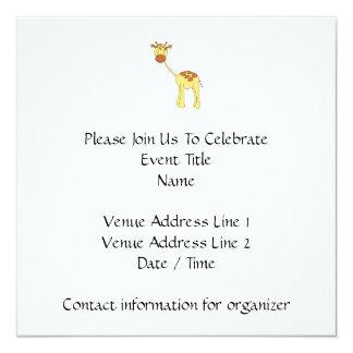Girafa bonito. Desenhos animados Convite Quadrado 13.35 X 13.35cm