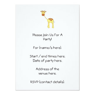 Girafa bonito. Desenhos animados Convite 16.51 X 22.22cm
