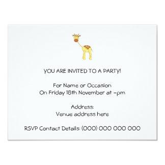 Girafa bonito. Desenhos animados Convite 10.79 X 13.97cm