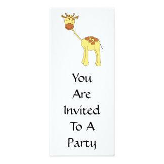 Girafa bonito. Desenhos animados Convite 10.16 X 23.49cm